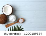 coconut oil  coconuts and green ... | Shutterstock . vector #1200109894