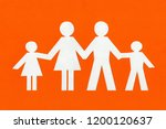 happy paper family on a bright... | Shutterstock . vector #1200120637