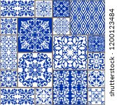 majolica pottery tile  blue and ... | Shutterstock .eps vector #1200123484