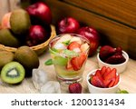 cool detox water drink with... | Shutterstock . vector #1200131434