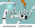 industry robots and mechanical... | Shutterstock . vector #1200132184