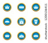 attire crown icons set. flat... | Shutterstock .eps vector #1200136411