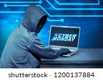 hacker using laptop with text... | Shutterstock . vector #1200137884