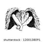 fallen angel with black wings... | Shutterstock .eps vector #1200138091