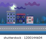 ruined houses in a moonlight | Shutterstock .eps vector #1200144604