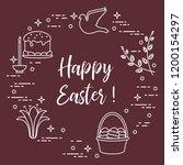 easter symbols. easter cake ... | Shutterstock .eps vector #1200154297