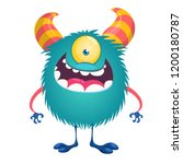 happy little blue one eyed... | Shutterstock .eps vector #1200180787