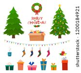 Christmas set wit decorative winter objects - toys, gift boxes, balls, garlands, socks, wreath, xmas trees isolated on white background. Flat cartoon style vector illustration.