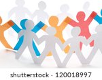 white paper people standing in ... | Shutterstock . vector #120018997