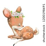 little cute watercolor lovely... | Shutterstock . vector #1200198691