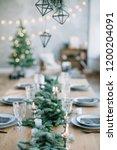 stylish table setting for... | Shutterstock . vector #1200204091