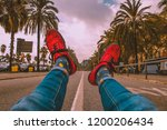 happy socks  palm trees on the...   Shutterstock . vector #1200206434