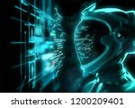a futuristic spaceman reading... | Shutterstock . vector #1200209401