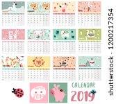 vector animal planner calendar... | Shutterstock .eps vector #1200217354