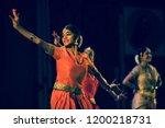 a young bharatnatyam artist... | Shutterstock . vector #1200218731