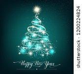 happy new year stylized shining ...   Shutterstock .eps vector #1200224824