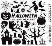 halloween vector icon set.... | Shutterstock .eps vector #1200231217