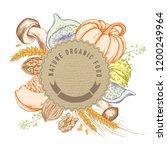 round paper emblem over autumn...   Shutterstock .eps vector #1200249964