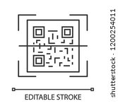 qr code scanning linear icon.... | Shutterstock .eps vector #1200254011