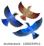 stylized songbirds in flight | Shutterstock .eps vector #1200254911