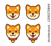 cute cartoon shiba inu puppy... | Shutterstock .eps vector #1200270844