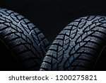 set of new winter tires on... | Shutterstock . vector #1200275821
