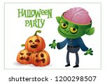 happy halloween lettering with... | Shutterstock .eps vector #1200298507