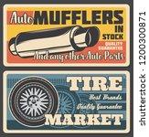 car service or parts shop retro ... | Shutterstock .eps vector #1200300871