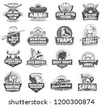 hunting club symbols and wild... | Shutterstock .eps vector #1200300874
