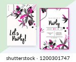 floral party invitation card... | Shutterstock .eps vector #1200301747