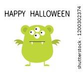 happy halloween. cute green... | Shutterstock .eps vector #1200302374