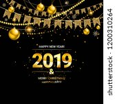 glossy new year background with ... | Shutterstock . vector #1200310264