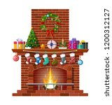 red brick classic fireplace... | Shutterstock .eps vector #1200312127