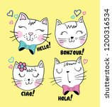 cute cats slogan | Shutterstock .eps vector #1200316534