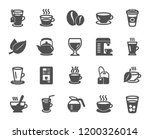 coffee and tea icons. set of... | Shutterstock .eps vector #1200326014