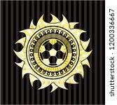 football ball icon inside gold... | Shutterstock .eps vector #1200336667