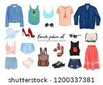 female fashion set. hand drawn  ... | Shutterstock .eps vector #1200337381