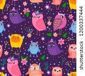 hand drawn various cute owls... | Shutterstock .eps vector #1200337444