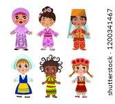 cartoon children in traditional ... | Shutterstock .eps vector #1200341467