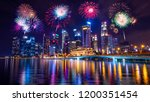 firework with cityscape night... | Shutterstock . vector #1200351454