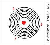black round maze. game for kids.... | Shutterstock .eps vector #1200371617