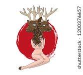 nude woman with a deer head....   Shutterstock .eps vector #1200376657