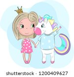 cute baby unicorn and girl... | Shutterstock .eps vector #1200409627