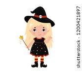 adorable little witch.... | Shutterstock .eps vector #1200421897