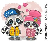 two cute cartoon raccoons boy... | Shutterstock .eps vector #1200430147