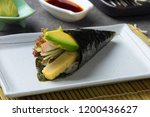 sushi temaki with shrimp and... | Shutterstock . vector #1200436627