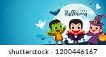 happy halloween banner vector...   Shutterstock .eps vector #1200446167