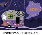 halloween trailer shouting boo    Shutterstock .eps vector #1200453571