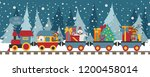 christmas train with bear ... | Shutterstock .eps vector #1200458014
