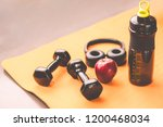 exercise workout equipment with ... | Shutterstock . vector #1200468034
